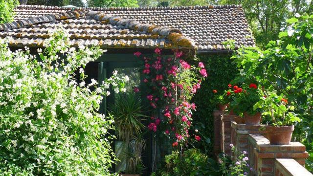 Villa le Barone : un des jardins avec du seringat, roses, geranium..