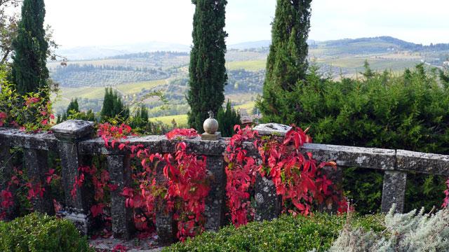 Vue sur les cyprès de la terrasse des cœurs à  Villa le Barone