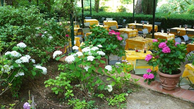 Pots en terre cuite autour de la terrasse du restaurant à Villa le Barone