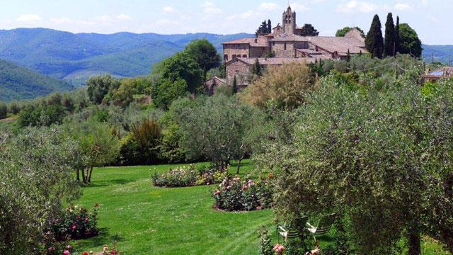 Vue sur les collines du Chianti depuis Villa le Barone