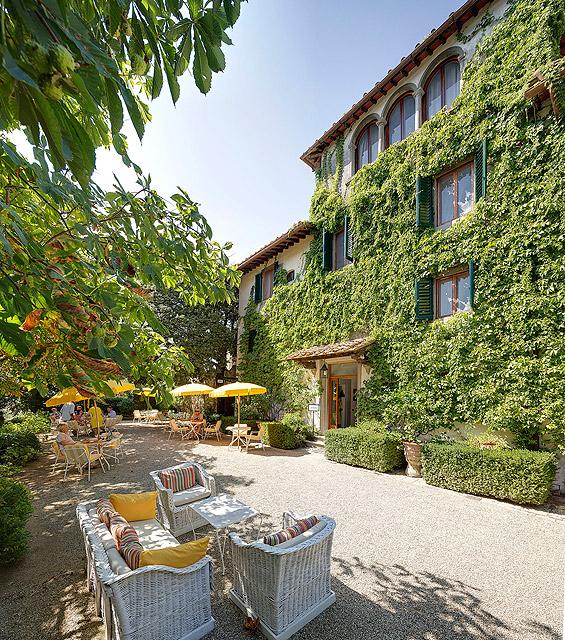 Un des jardins de Villa le Barone en Toscane