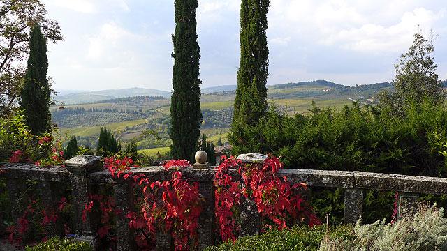 Vue de la terrasse des cœurs à Villa le Barone , Chianti
