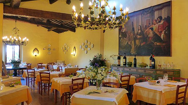 Restaurant à Villa le Barone en Toscane