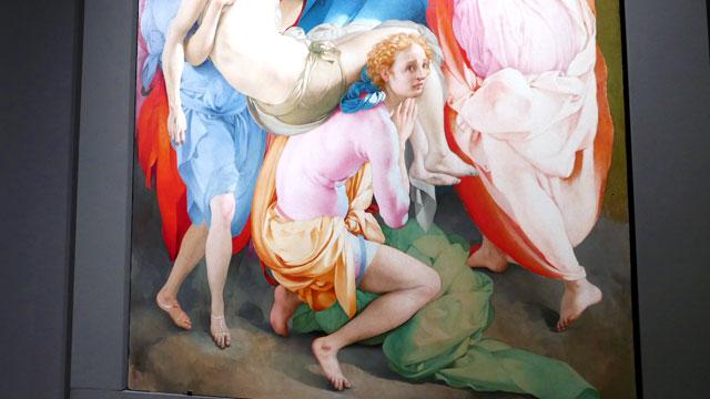 """Pontormo détail de  """"La Déposition"""" - exposition """"Il Cinquecento à Florence"""" au Palais Strozzi  Florence Italie"""