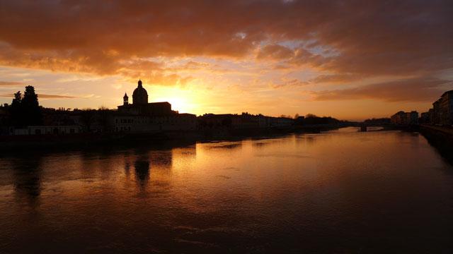 Florence Coucher de soleil sur l'Arno